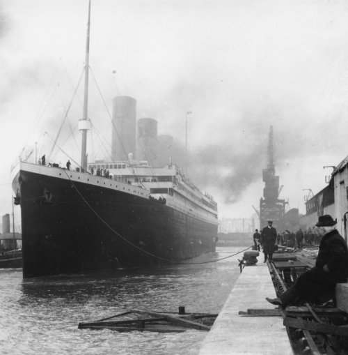 Today 101 years ago the Titanic set sail on her maiden voyage. In 4 days she will sink and take over 1,500 souls to the bottom of the Atlantic Ocean. The Titanic sets sail in this photo for the first and last time.