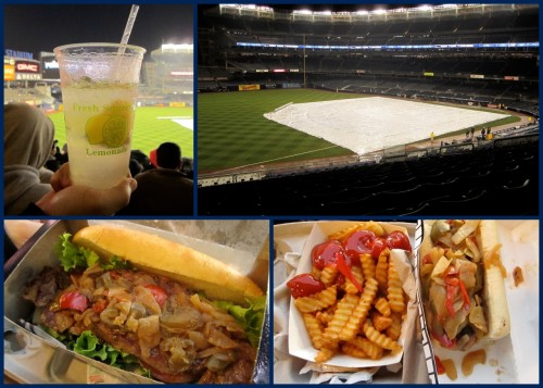 "Foods at Yankee Stadium are not just hamburgers and hot dogs.  You can get steak sandwiches and also italian sausages with ""a nightmares"" worth of onions and peppers as my server stated.  Also, a lemonade is a must even though it cost $5.25 a cup.  Too bad it rained that day and the game got cancelled.  What a bummer!"