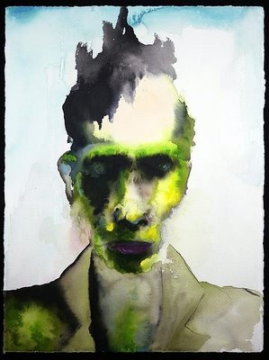 Famous Musicians that like to paint The Enabler - Marilyn Manson, watercolor painting.