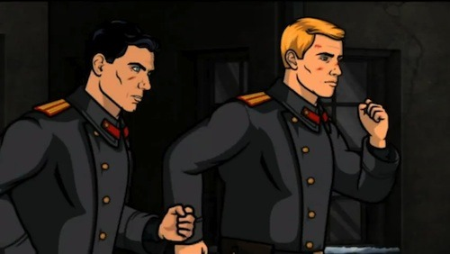 "A picture of Barry and Archer running from the Ruskies in ""White Nights."""