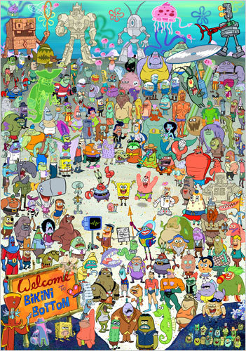 artcaptivatesme:  I recognize every single character here. Reblog if you love watching Spongebob and you're over 10 yrs. old.