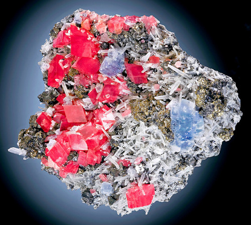 Rhodochrosite, Fluorite, Tetrahedrite, Pyrite, and needle Quartz from Colorado