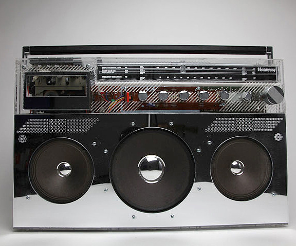 Boombox, Collaboration w/ DJ Ross One for Hennessy Black, 2010 Customized boombox from Ross' extensive collection, with two-way acrylic mirrored panels and interior lighting. Essential construction assistance by the amazing Max Steiner Design and Carl Everett Wiemann for his lighting expertise. Facilitated by the wonderful Jasmin Yu and Rachel Shapiro of Complex.