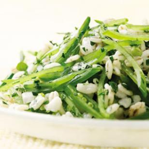Sugar snap pea & barley salad You get two sides in one with this dish—whole-grain barley along with crisp matchsticks of vitamin- and fiber-rich snap peas. serve with roasted or grilled salmon or chicken. 6 servings, about 2/3 cup each active time: 30 minutes total time: 30 minutes Ingredients 2 cups water 1 cup quick-cooking barley 8 ounces sugar snap peas, trimmed and sliced into matchsticks 1/2 cup chopped fresh flat-leaf parsley 1/4 cup finely chopped red onion 2 tablespoons extra-virgin olive oil 2 tablespoons lemon juice 3/4 teaspoon salt 1/4 teaspoon freshly ground pepper Preparation bring water to a boil in a medium saucepan. add barley and cook, covered, for 10 to 12 minutes, or according to package directions. remove from the heat and let stand, covered, for 5 minutes. rinse the barley under cool water and transfer to a large bowl. add snap peas, parsley, onion, oil, lemon juice, salt and pepper and toss to combine. Nutrition   per serving: 152 calories; 5 g fat ( 1 g sat , 4 g mono ); 0 mg cholesterol; 23 g carbohydrates; 0 g added sugars; 4 g protein; 4 g fiber; 301 mg sodium; 108 mg potassium. nutrition bonus: vitamin c (25% daily value), vitamin a (15% dv). carbohydrate servings: 1 exchanges: 1 starch, 1 vegetable, 1 fat eatingwell