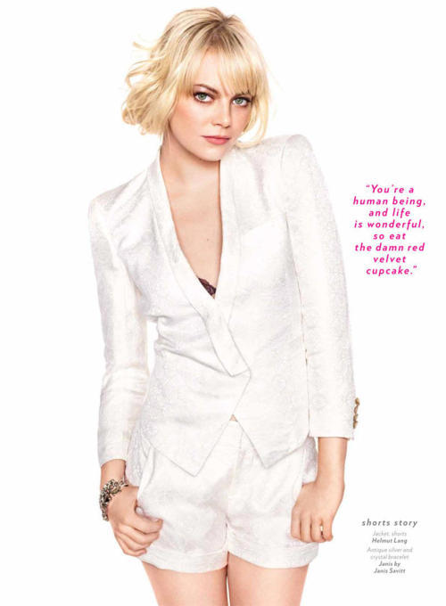 FEATURE OF THE DAY. GLAMOUR. THE COOL GIRL: EMMA STONE. Featuring Emma Stone head to toe in our SS11 Facet Jacquard White Blazer and Shorts.