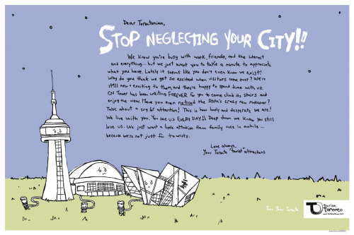Toronto Tourism copy ad, directed at Torontonians.