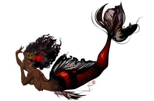 mermaidsofcolor:  Artist Afua Richardson tangledupinlace:  drfoo:  The Mermaid queen . Dr. Foo is crawling out of the wreckage of her sickly metal lungs. ( I'll have prints for sale soon on my brand spankin new site :] once i stop coughing…)  The talented and everso stunning Katie West linked me to this and OMG LOOK AT HOW BEAUTIFUL SHE IS. HER TAIL IS THE BEST HER HAIR IS THE BEST EVERYTHING. I hardly EVER see mermaids of color. So excited   have i ever mentioned how much i want a mermaid tattoo?