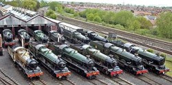 Image: Numerous GWR Locomotives at Didcot. Steamy Talks No.15: The Didcot Family An Engine: Come on everyone, for the family album, say Great Western! All Engines: Great Western…! (This image belongs to http://www.didcotrailwaycentre.org.uk/news/news_special.html)