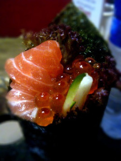 Salmon Sashimi and Ikura Handroll