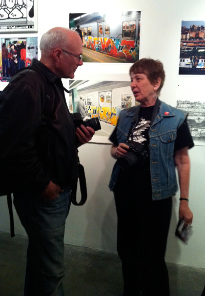 sachabaumann:  Martha Cooper at the REMIX opening @CarmichaelLA Saturday night. The show is fantastic. Such swagger and joy.  Henry Chalfant, too! Grab a copy of their wonderful book, Subway Art: 25th Anniversary, if you don't have it on your bookshelf yet!