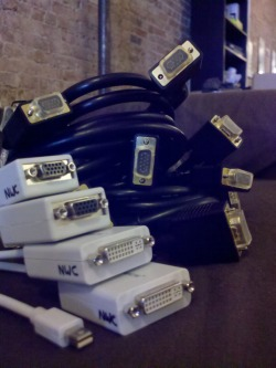 More Mac display adapters and VGA cables!  Side note: we also have some excellent sweet & sour and hoisin sauces in the fridge!