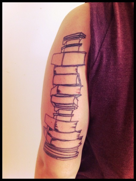 "Book tattoo:    ""Books are the quietest and most constant of friends; they are the most accessible and wisest of counselors, and the most patient of teachers."" Reading was my first love in life. I started at an early age, consumed hundreds of books as a child, and now I am a minor in Fiction Writing. This is the start to a half sleeve dedicated to my love of reading and writing. kitten roar"
