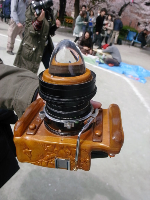 photojojo:  Whoaaaa. Check out this homemade medium format camera. It has a 360 degree lens that actually kind of looks like a crystal ball, no? See a sample photo here, and more details/views here, here, and here. Homemade Medium Format Camera  wow