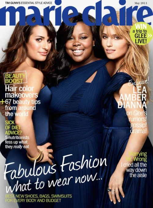 Amber Riley, Lea Michele & Dianna Agron in Marie Claire, May 2011.