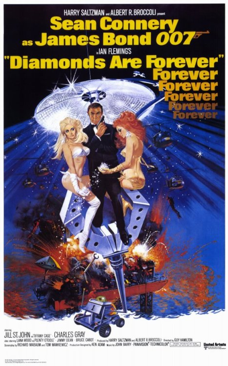 "#96 Diamonds Are Forever (Rewatch) After tracking down and killing Blofeld (Charles Gray) for the murder of his wife, Bond (Sean Connery) is sent to Amsterdam to look into a diamond smuggling ring. There he meets the beautiful Tiffany Case (Jill St. John), while posing as a smuggler, and has to help her get the cargo through customs to Las Vegas for the reclusive Willard White (Jimmy Dean). DAF marks the return of, and final official appearance of, Sean Connery in the role of James Bond. After George Lazenby left after a single film there was initially a search for the new Bond. The producers even went so far as to sign on John Gavin, most famous for playing Janet Leigh's boyfriend Sam Loomis in Hitchcock's Psycho, but the heads of United Artists were set on Connery returning to the role stating money was no object. Connery returned for a single performance provided United Artists would back two future movies of his choice and paid him 1.2 million dollars (15.9 million in today's money). They did and so he returned. You can tell Connery wasn't really here for the role this time around. He was proficient enough but the luster he had for the character was gone and he seemed to be purely going through the motions. He was also looking rather old in the part by this point. It was beginning to look a little weird that he was getting all the women he was. It's also probable he didn't watch On Her Majesty's Secret Service because the last scene we see of that is a heart broken Bond holding his dead wife. This film begins with him killing Blofeld for this but it just looks like any standard mission up until that point. He was playing Bond the same way he always did but there should have been more to the act of killing Blofeld than just ""ha i finally got you"" with his cheeky grin and a one liner. It doesn't fit properly. Jill St John is the first American Bond girl. Some found her character annoying, and there is definitely a lack of elegance which had come to be synonymous with the main leading lady, but personally I think she worked well enough for the setting. Also the scene in which she is naked on the bed covered by the white animal skin might be one of the most sexy poses in the series since Andress emerged from the sea and Shirley Eaton lounged on the bed. The villains are lacking this time around. Blofeld was a lot more menacing in both of his other installments. Charles Gray just came off as a little foppish in my mind. He definitely had the intelligence of the character down but it was all just a little too camp. Also Mr Wint (Bruce Glover), Mr Kidd (Putter Smith), Bambi (Lola Larson) and Thumper (Trina Parks) were all really stupid characters and never felt intimidating. The setting was a little bit of a let down this time as well. Las Vegas may have seemed exotic at the time but now it just looks kinda skeezy. A film ago we were in the Alps, and before that, Japan and the Bahamas. The entire thing just felt a little weak. Finally, the moon buggy chase might have been the passing of the torch for the series. Connery, and even Lazenby's, movies were spy dramas, with a couple of gadgets thrown in, but they were always supposed to be taken somewhat seriously. The Roger Moore era Bond films were more comedies that happened to have some cool action in them. Others might say the jetpack in Thunderball or Little Nelly in YOLT is where it began to favour this but for me it was the moon buggy in this film. More interesting than OHMSS for me but definitely the weakest of Connery's films. 2/5"