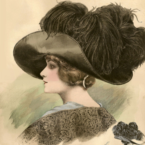 1911 Grand Album de Chapeaux Chic Parisien ~ Fashionable black taffetas hat. Brim turned back in front and at the back. Round shaped crown in half height, covered with four black ostrich feather tips. Chromolithograph, Atelier Bachwitz