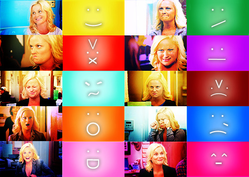 dorothy-snarker:   Leslie Knope: The human emoticon.  That there's a new Parks & Recreation this week makes me feel bottom left corner.