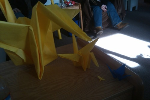 This was made a couple days ago, in preparation for a paper crane-making table at Stockton in support of Japan. The cause being worked for: http://studentsrebuild.org/japan/