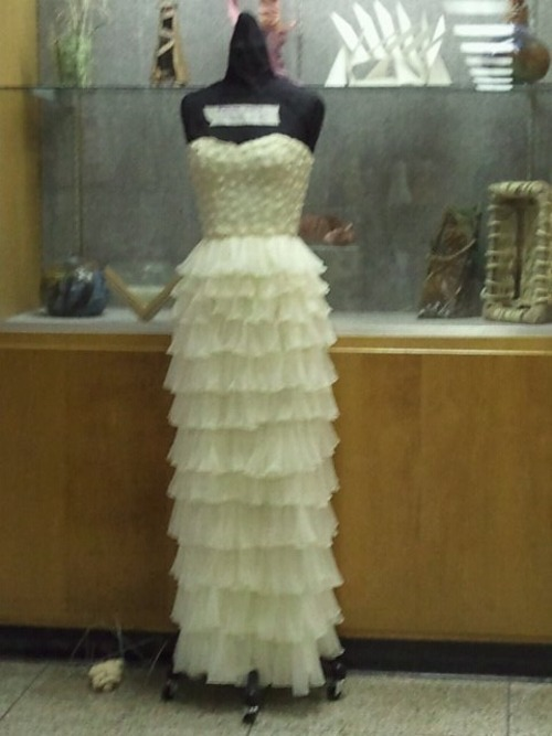 checkingintorehab:  Dress made of Condoms O_o -all thanks to duPont Manual High School