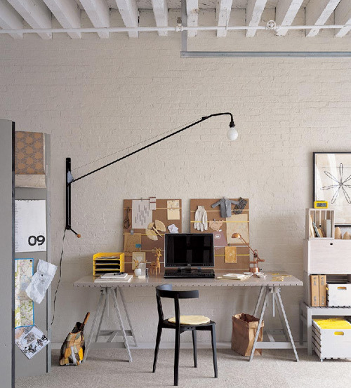 Shane Powers' workspace from Leslie from A Creative Mint via Decor8