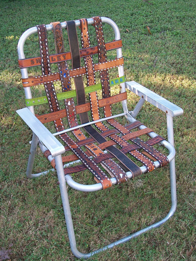 DIY project du jour: Got an old lawn chair? Replace its webbing with worn leather belts. (via Green is Universal ReUser's Guide) For additional belt-repurposing ideas, check out earlier Unconsumption posts here.