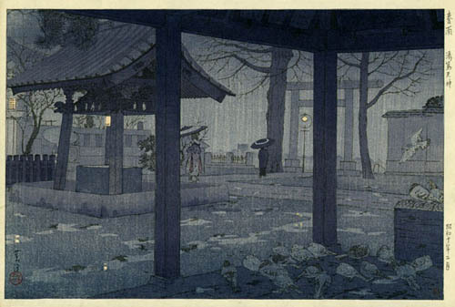 Spring Rain at Yushima Tenjin Shrine by Shiro Kasamatsu, 1935 (published by Watanabe Shozaburo)