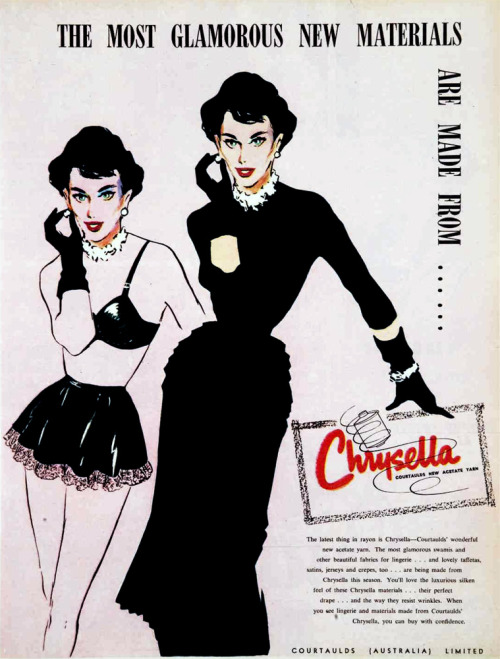 vivatvintage:  The most glamorous new materials are made from Chrysella, 1954.