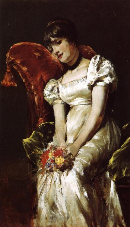 earwigbiscuits:  Young Girl With Flowers by William Merritt Chase (1849-1916)