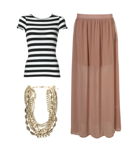 edie crew neck back zip tee/layered maxi skirt (topshop)/clash necklace