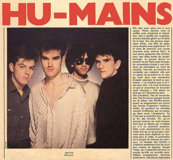 "From one of the very first article I've read about: The Smiths in a French magazine called: ""Rock & Folk"" in 1983.Scanned from my personal archives, Olivier Daaram 04/2011"