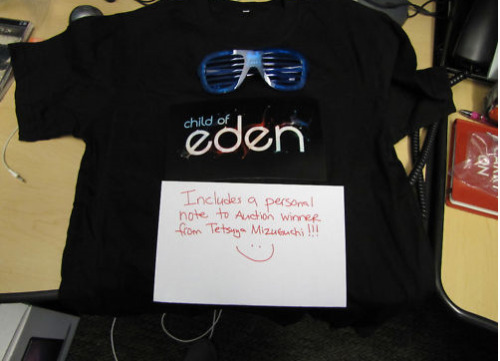 "Auction: Child of Eden LED T-Shirt and GlassesKimi Matsuzaki posted an auction for an extremely limited edition Child of Eden T-shirt plus some funky blinky glasses, and the lucky auction winner will get a note personalized from ""Miz"" himself!You are bidding on a rare Child of Eden LED t-shirt (only 100 were given out at PAX East!) and Child of Eden blinkie glasses. The shirt size is Small, so this is perfect for a small male or female, or collector. The icing on the cake is that the winner of this auction will receive a personalized note from Tetsuya Mizuguchi, president of Q Entertainment, and creator of Child of Eden, Rez, Lumines, and Every Extend Extra!Once the auction closes I will forward your information to Mizuguchi-san, who will then write a note to the auction winner.This auction closes April 18th, 13:49:38 PDT. All proceeds from this auction benefit the Japan Earthquake and Tsunami Relief Fun – a GlobalGiving Project, on behalf of Red Storm Entertainment."