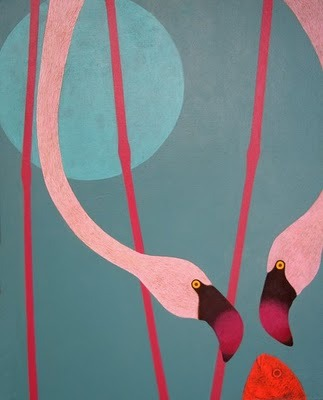 lawn decorations.  (Flamingo banquet by Simone Rea)