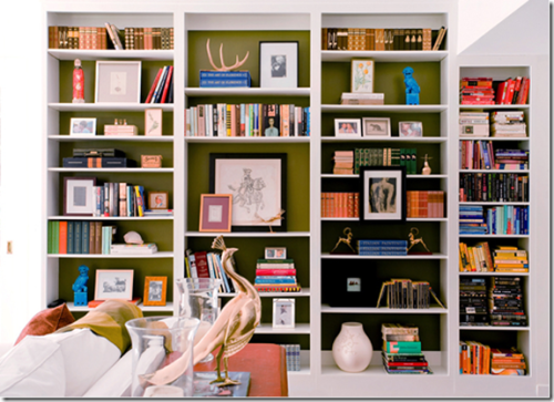 perfectly organized bookshelves.