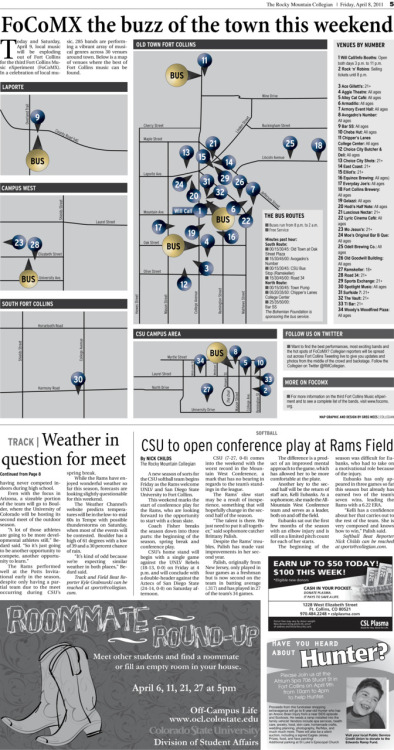 Friday, April 8, 2011. The Rocky   Mountain Collegian FoCoMX graphic.  Map graphic by Chief Designer Greg Mees. The Story: FoCo to the Max