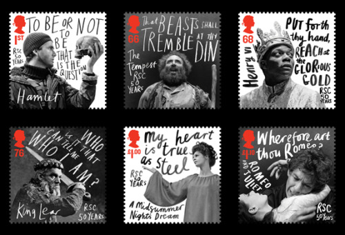Stamps commemorating the Royal  Shakespeare Company's 50th anniversary. By hat-trick, via Creative Review.