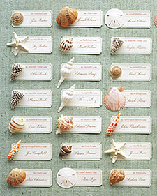 DIY  Lovely idea for a beachside party or wedding! Seashell placecards!!!