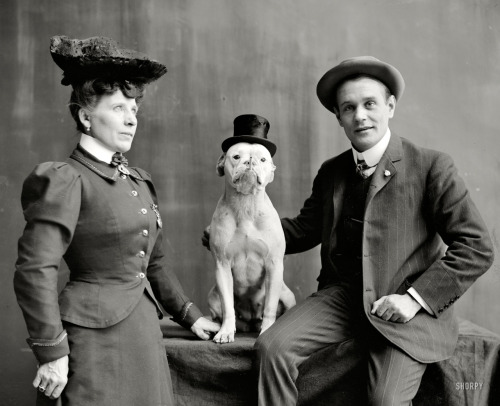 1908 Mr. and Mrs. Frank Kern and their trained dog Bobbie. (via annachronique)