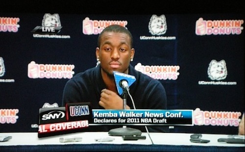"""I just think it`s the right time for me to go to the NBA."" - - Kemba Walker    I didn`t choose who (agent) I`ll go with but there`s no chance I`m coming back."" - Kemba Walker  ""I feel very blessed that I was able to coach him."" - Jim Calhoun on Kemba Kemba Walker will throw out the first pitch at tomorrow's Yankees game. - @AdamZagoria"