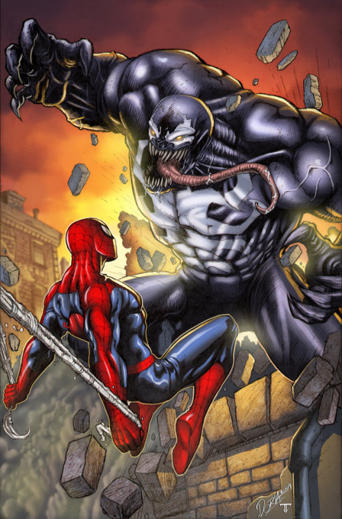 the-queens-deck:  thaundefeated:  Spidey vs Venom.  Venom scares the hell out of me but he's awesome.