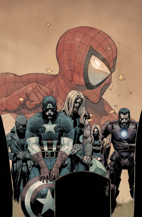 The Ultimate Avengers, the New Ultimates, and Ultimate Spider-Man lose  to death on the cover to Ultimate Comics Avengers vs. New Ultimates #6 from Marvel.