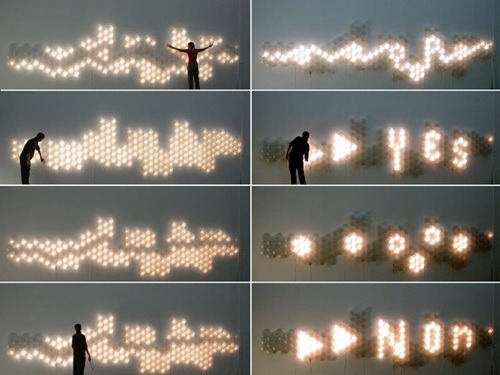 Light Bricks! Helen Evans and Heiko Hansen made a modular light system for  architecture, which reacts to the electromagnetic fields generated by  touch.