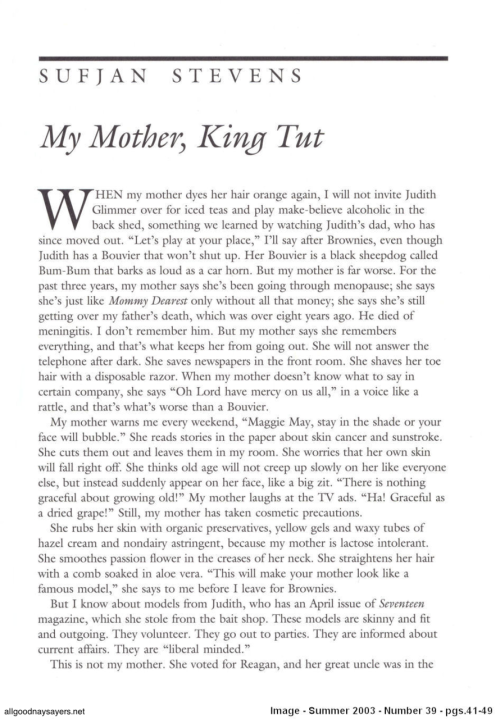 Click through the first page to read Sufan's short story My Mother, King Tut.