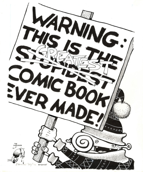 The Peter Bagge art show at Scott Eder Gallery in Brooklyn is online for viewing and buying. Above: original art for the back cover of Neat Stuff #2.