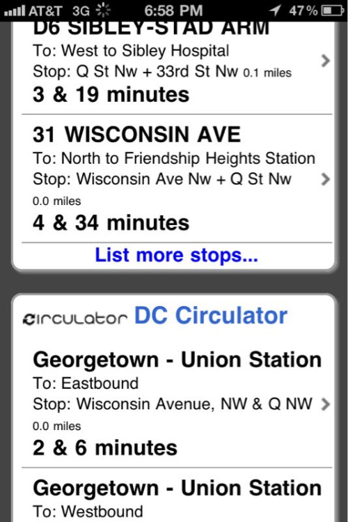 The NextBus app now shows MetroBus and Circulator arrival times on the same screen!  My day is officially made!  (Nope, it doesn't take much…)