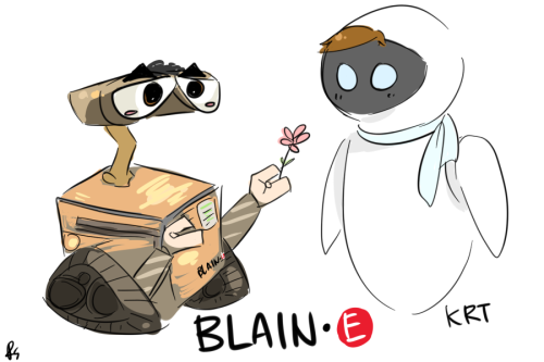 randomsplashes:  BLAIN-E  OKAY IT WAS SO FRICKEN HARD TO DRAW BLAINE AS WALL-E AJFDKSLFDS. BUT HERE'S BLAIN-E GIVING KRT A FLOWER. LIKE IT BBS?