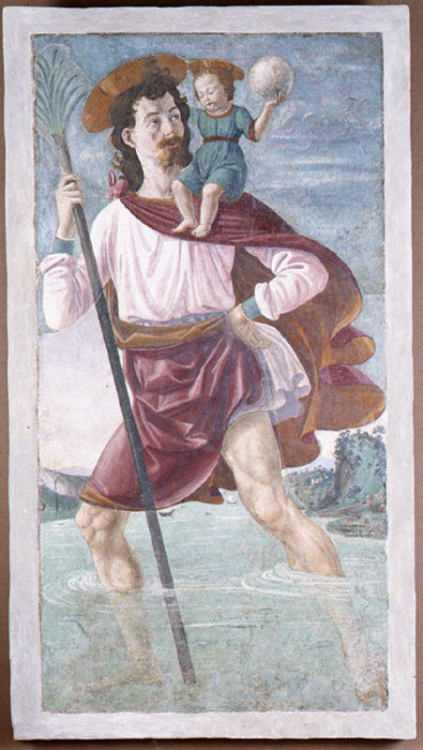 Saint Christopher and the Infant ChristDomenico Ghirlandaio, c. 1448Fresco [I think this is one of the most fun frescoes I have looked at. It's just…fun!]