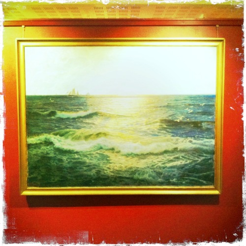 We came across this painting in the Maritime Museum in Oslo… but try as we might, could find no reference on the wall about who it was by, when it was painted and so on.   But if you look right into the distance, and listen hard enough, you can see and hear that the boat is crewed by the people who've looked at the painting a moment too long…