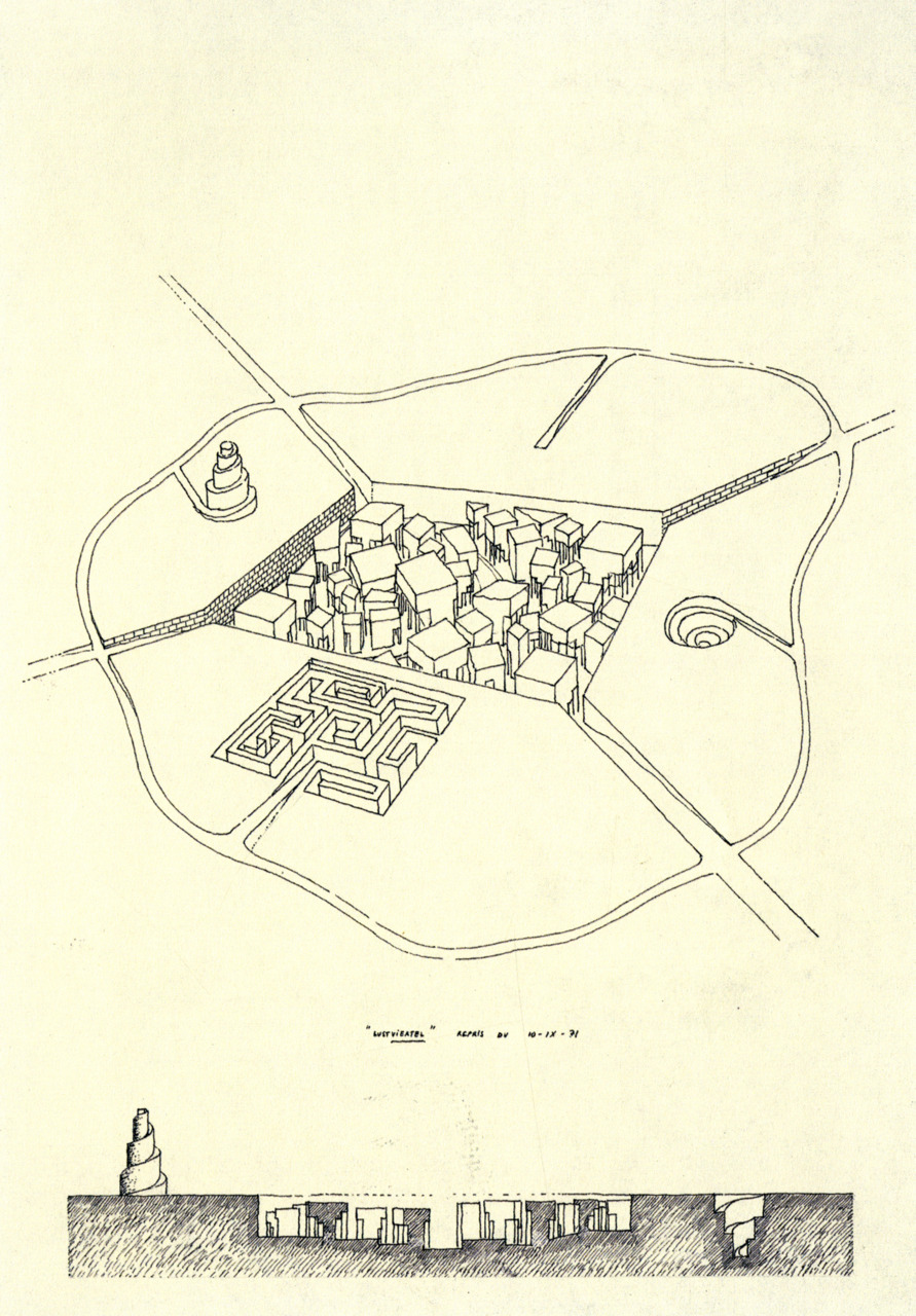 "the-rx:  Léon Krier, Labyrinth City Project, 1971 (via archiveofaffinities) ""Between 1967 and 1974, Léon Krier both pursued urban projects and produced numerous drawings of architectural follies. The latter were triggered by vernacular architecture or structural engineering and generally situated in remote locations such as mountain sites, deserts, and Mediterranean islands. These visionary projects, inspired by both real circumstance and dream states, were conceived for specific individuals, such as friends or people whom Krier admired from a distance. In these small, highly personal projects he sought an escape from the formal and social principals of the modern masters, in particular, those of Le Corbusier, and a rediscovery of the essential methods of construction."""