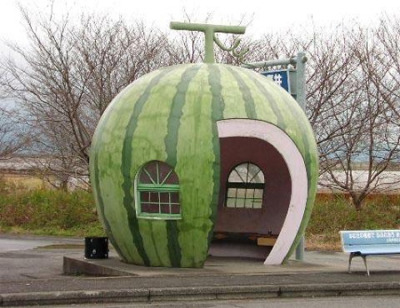 Watermelon bus stop in Japan