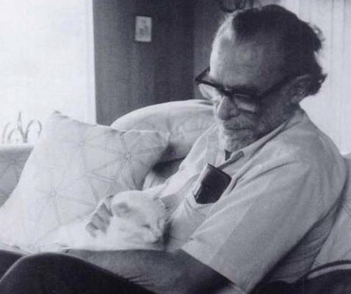 henrycharlesbukowski:  And yet another picture of him with a cat